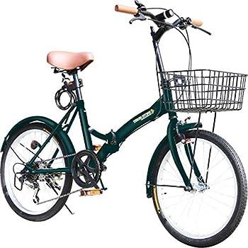 折りたたみ自転車 20インチ P-008 カゴ・フロントLEDライト・ワイヤーロック錠付き シマノ6段変速ギア 折り畳み自転車 小径車 ミニベロ PL保険加入 (モスグリーン)