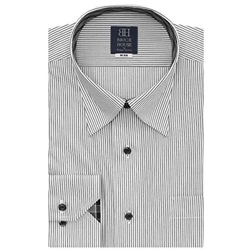BRICK HOUSE 長袖 ワイシャツ 形態安定 ドゥエボットーニ スナップダウン 白×グレーストライプ BXLN24517F-31 クロ・グレー M-80
