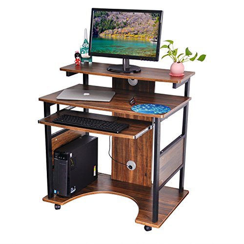 DEWEL パソコンデスク pcデスク パソコン 机 デスク 木製 テーブル キャスター付き 80cm*50cm*87cm