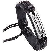 Fusamk Fashion Religion Alloy Cross Tag Leather Rope Bracelet Bangle