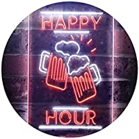 Happy Hour Cheers Beer Mugs Dual Color LED看板 ネオンプレート サイン 標識 白色 + オレンジ色 210 x 300mm st6s23-i3550-wo