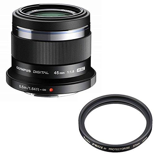 OLYMPUS 単焦点レンズ M.ZUIKO DIGITAL 45mm F1.8  ブラック + Kenko レンズフィルター PRO1D プロテクター (W) 37mm レンズ保護用 237519 セット