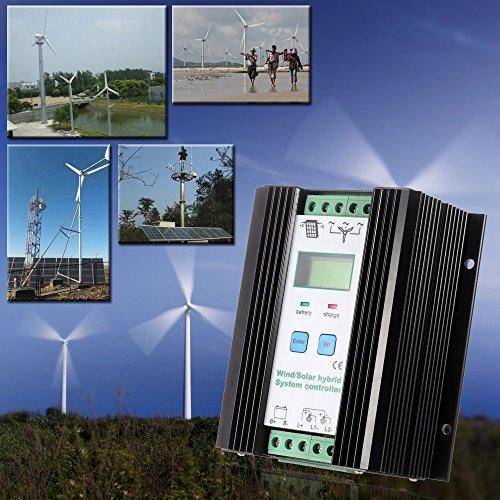 Anself 12V /24V PWM 風力ソーラー チャージコントローラー 自動識別 家庭用 バッテリコントローラ保護 (600ワットの風力+400ワットソーラー)