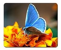 ブルー蝶と黄色の花 マウスパッド(210x260x3mm)