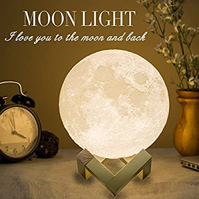 Mydethun Moon Lamp Moon Light Night Light for Kids Gift for Women USB Charging and Touch Control Brightness 3D Printed Warm and Cool White Lunar Lamp