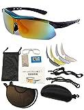 EMU SERVE (エムサーブ) 偏光レンズ スポーツサングラス メンズ レディース 交換レンズ5枚 UV400 紫外線 カット 度付き対応インナーフレーム付