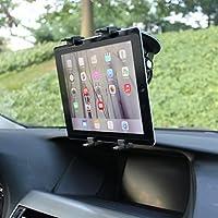 マルチアングル回転車マウントタブレットホルダーフロントガラスウィンドウSwivel Cradle吸引ブラックfor Ipad 4、空気、2、ミニ、2、3、4、Pro 9.7–LG G Pad 10.17.08.08.3F 8.0–Verizon Ellipsis 7、8
