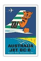 オーストラリア - TAI(国際航空運送) - ダグラスジェットDC-8 - コアラ - ビンテージな航空会社のポスター によって作成された セガン c.1960s - アートポスター - 76cm x 112cm