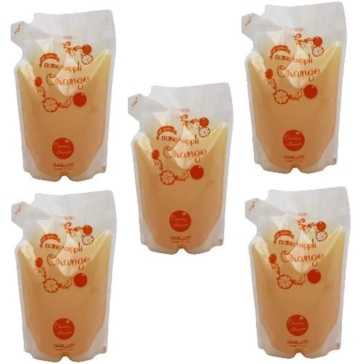 締めるコーンサポート【x5個セット】 サニープレイス ナノサプリ ヘアクレンジングシャンプー オレンジ 800ml (詰替用)