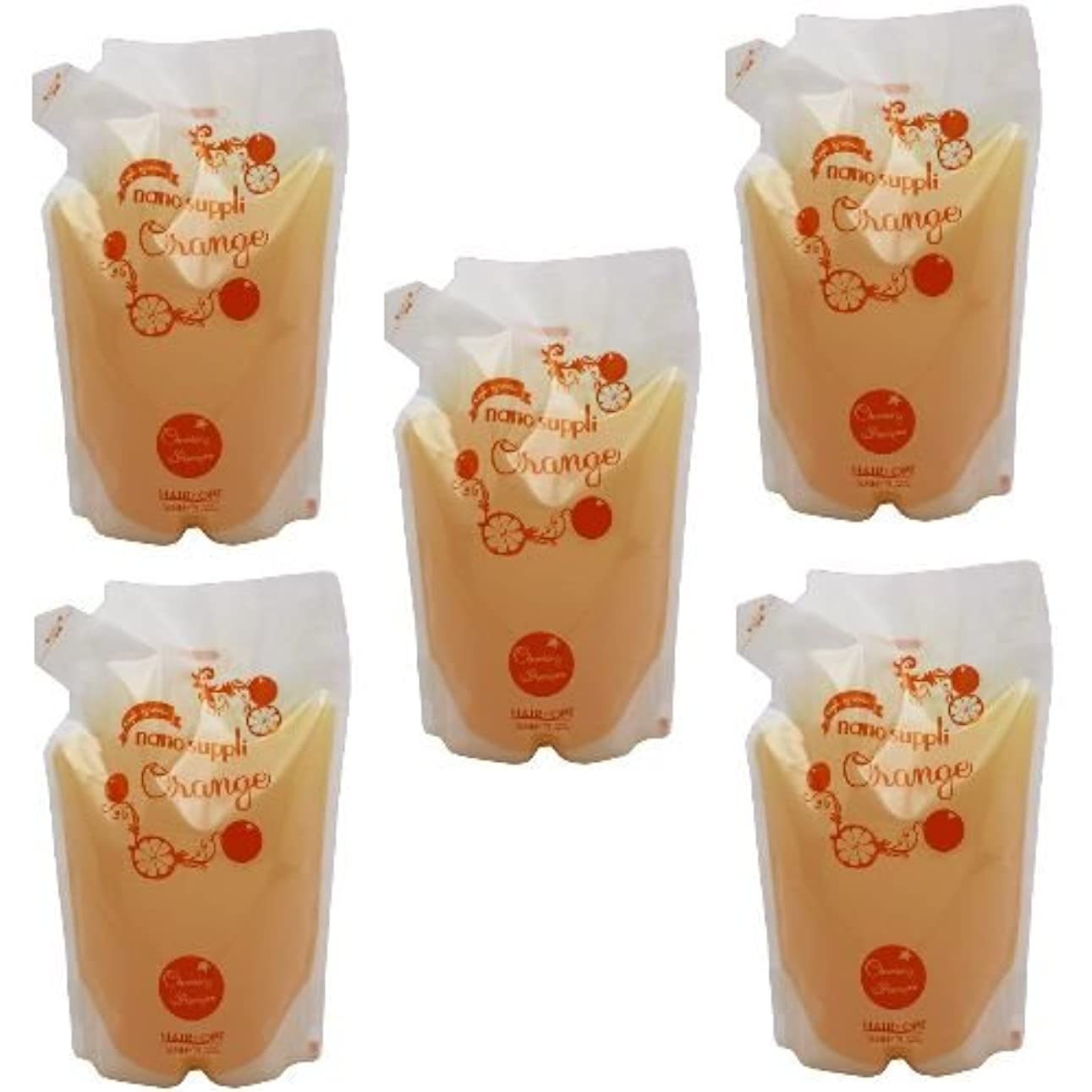 珍味光景学んだ【x5個セット】 サニープレイス ナノサプリ ヘアクレンジングシャンプー オレンジ 800ml (詰替用)