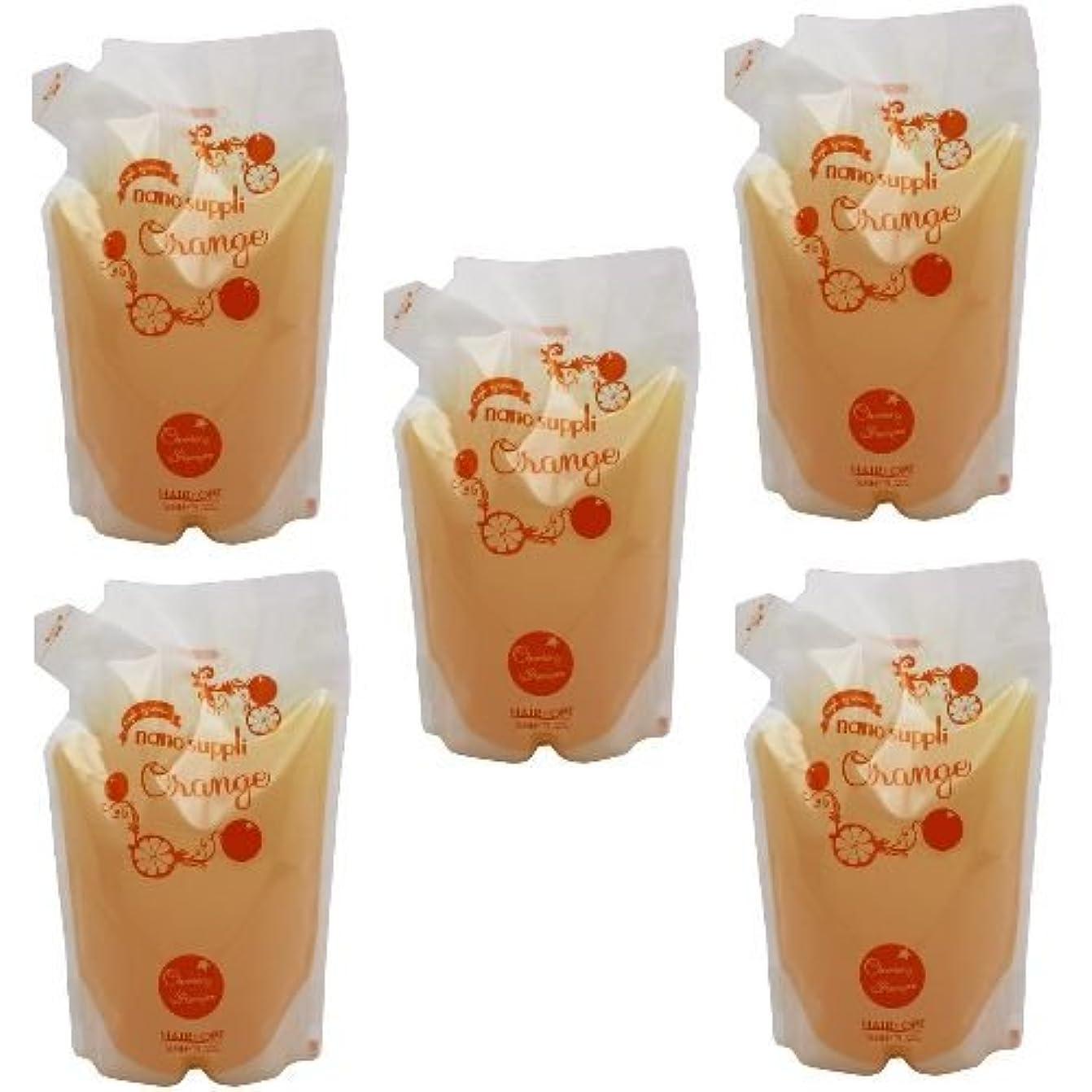 毎年ラッチビーム【x5個セット】 サニープレイス ナノサプリ ヘアクレンジングシャンプー オレンジ 800ml (詰替用)