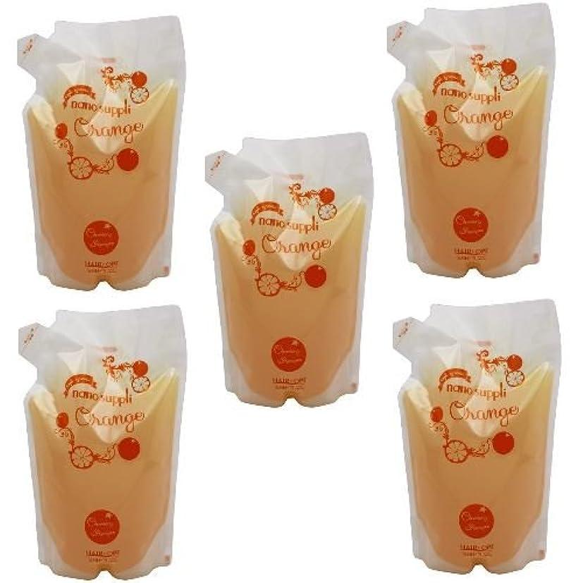 パラナ川納屋意味のある【x5個セット】 サニープレイス ナノサプリ ヘアクレンジングシャンプー オレンジ 800ml (詰替用)