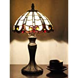 8インチヴィンテージラグジュアリーシンプルなティファニースタイルのステンドグラスのテーブルランプのベッドサイドランプ