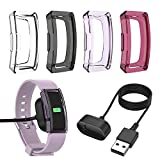 EEweca 4-Pack Protector Case for Fitbit Inspire or Inspire HR Smartwatch TPU Soft Bumper Shell (with 1-Pack 3.3 ft Charger)