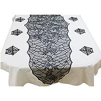 O'z star ハロウィン クモの巣 の テーブルランナー (テーブルセンター ) と コースター 6枚 の セット ハロウィングッズ かざり (Aセット)