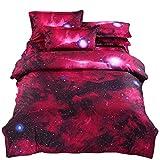 (コズミックツリー) COSMIC TREE 宇宙に包まれて眠る 惑星 宇宙 ベット シーツ 布団カバー 枕カバー セット 選べる シングル ダブル 宇宙 コスモ 宇宙スペース 雑貨 高品質プリント (シングルセット, レッド)