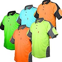 BIG BEE HI VIS Polo Shirts Arm Panel with Piping Safety Work Wear Cool Dry Short Sleeve