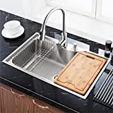 Homelava 流し台 キッチンシンク まな板付 #304ステンレス製流し台 (蛇口付き)