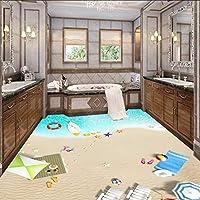 Xueshao 3Dオーシャンビーチ1階装飾絵画壁紙オフィスホームスタジオバスルームフロア壁画-200X140Cm