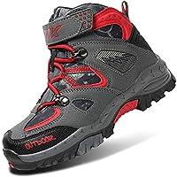 WETIKE Kids Summer Camp Shoes Waterproof Hiker Boots Hiking Shoes for Boys Sneaker Girls Hiking Trekking Climbing Outdoor Shoes Big Little Kids Waterproof Non-Slip Steel Buckle Red Size 8