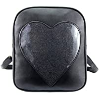 2017 Summer Candy Backpacks Transparent Love Heart Shape Pu Leather School Bags for Teenage Girls Kids Purse Lovely Ita Bag (8006_Black)