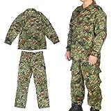 Broptical 陸上自衛隊 迷彩 戦闘服3型 ベルト付YKKファスナー付 上下セット Lサイズ ウェストサイズ:94-98cm