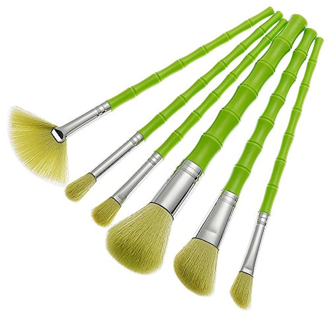 給料厄介な習慣(プタス)Putars メイクブラシ メイクブラシセット 6本セット 竹模様 グリーン 化粧ブラシ ふわふわ お肌に優しい 毛量たっぷり メイク道具 プレゼント