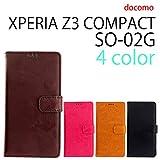 『保護シール付き』 SO-02G XPERIA Z3 compact 用 本革風 手帳型ケース ダークブラウン [ XPERIAZ3COMPACT エクスペリアZ3コンパクト SO-02G ケース カバー SO-02G SO-02G ]