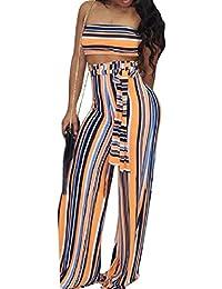 Tootess Women Stripes Nightclub Sexy Crop 2件 Crop Top Long Pants Jumpsuit