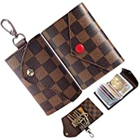 Vines US Credit Card Holder Women Key case for Men Leather Small Mini Plaid Car Holder Bag Purse Pouch Keychain