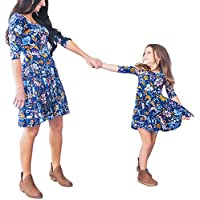 Mommy and Me Matching Half Sleeve Floral Print Swing Mini Dress Blue Princess Sundress Parent-Child Family Outfits (L, Girls)