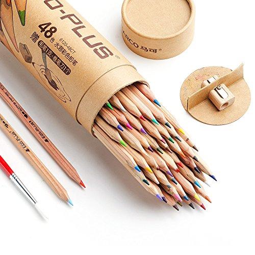 Marco 水彩色鉛筆 48色 セット シャープナー;ブレンディングペン付き 初心者、学生向け