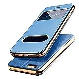 【E-HOME】 iPhone6 Plus iPhone6s Plus 手帳型ケース 窓付き スタンド付き ガラスフィルム付き 金属感 TPUカバー アイフォン6s プラス/ アイフォン6 プラス 手帳型 耐衝撃 カバー (iPhone6 Plus/6s Plus,ブルー)