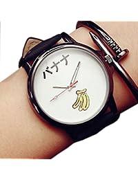 ZooooM おもしろ ウォッチ シンプル デザイン 文字盤 アナログ 腕 時計 ファッション アクセサリー ユニーク カジュアル メンズ レディース 男性 女性 (バナナ:ホワイト) ZM-TABEMOJI-BAWH
