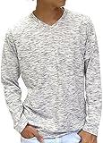 (マルカワジーンズパワージーンズバリュー) Marukawa JEANS POWER JEANS VALUE Tシャツ メンズ 長袖 杢スラブ ロンT 無地 Vネック 5color M キナリ