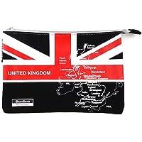Bandiera(バンディエラ) ナショナル フラッグ ニューフラットポーチ M UK Black 11752【イギリス 国旗 黒 地図 ポーチ】