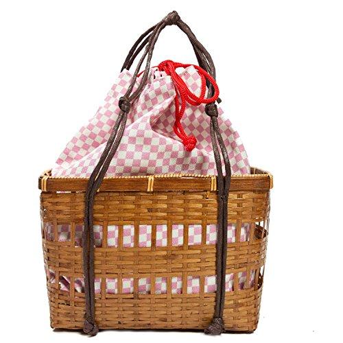 KYOETSU(キョウエツ) バッグ かごバッグ 浴衣 kg-07 レディース (かご-茶×8.ピンク市松)