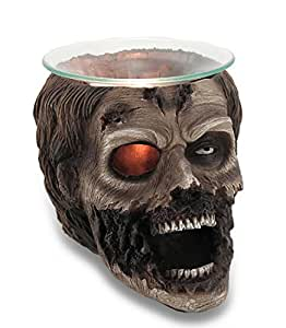 Evil Undead Zombie Head Electric Oil WarmerまたはワックスとTart Burner for Scary Halloweenパーティーデコレーションとゴシックホームインテリアスカル彫刻& Figurines As Spooky Collectibleノベルティギフト