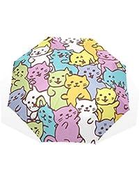 AOMOKI 折り畳み傘 折りたたみ傘 手開き 日傘 三つ折り 梅雨対策 晴雨兼用 UVカット 耐強風 8本骨 男女兼用 かわいいネコ カラフル