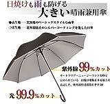 日光を遮断! 晴雨兼用 日傘 【無償修理対象】 ひっくり返っても元通り! Lサイズ 大きめ直径約120cmの耐風骨×目立たない裏シルバー生地 UV99%以上カット 軽量 UPF50+ 70cm ジャンプ長傘 (黒)