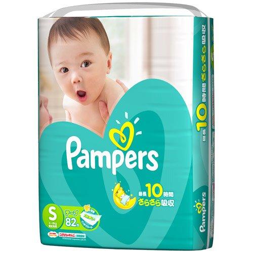 《ケース》 P&G パンパース さらさらケア テープ スーパージャンボ Sサイズ 男女共用 4〜8kg (82枚)×4個 テープタイプおむつ 【P&G】