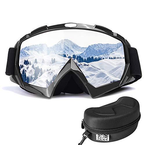 BenRan スキーゴーグル スノーボードゴーグル 曇り止め紫外線カット ヘルメット対応 男女 カップル 青年 子供 サイズ調節可能 防塵 防風 防雪 登山 スキー バイク アウトドアスポーツに全面適用 ブラック