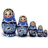 Nesting人形5個Gzhel。Russian Matryoshka。元の誕生日やクリスマスギフトand present。Handmade Dolls。ホームインテリアアイデア。お土産。