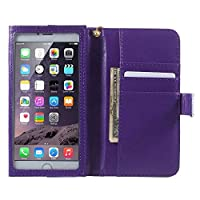 DFV mobile - Crazy Horse PU Leather Wallet Case with Frame Touchable Screen and Card Slots for => BLUBOO X1 > Violet