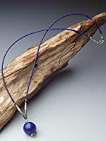 [クロマニヨン] ラピスラズリ 14mm玉 フェルメール・ブルー カレン 族 シルバー ネックレス 60cm