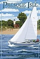 プレスクアイル灯台–エリー 24 x 36 Signed Art Print LANT-40821-710