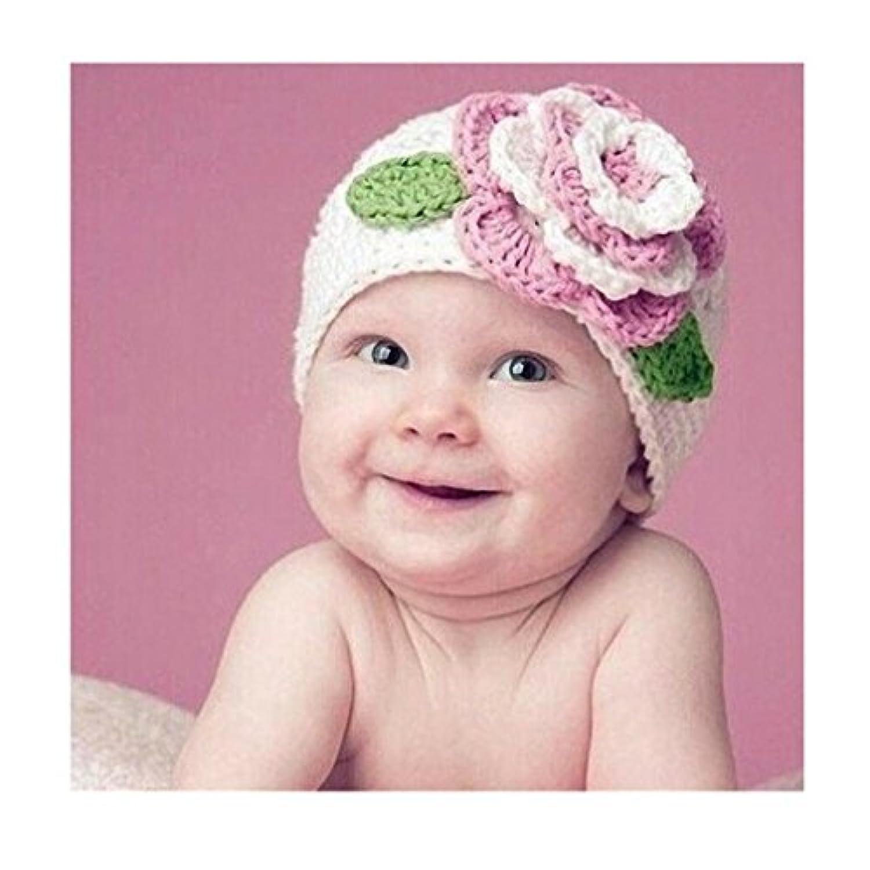 iuhan ®キュートBigフラワーベビー子供乳児幼児女の子暖かいビーニーニット帽子キャップ