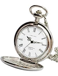 【リトルマジック】SW シンプル 懐中時計 メンズ レディース 【正規品】 チェーン 蓋付き 時計 ローマ数字 ナースウォッチ (シルバー白文字盤)