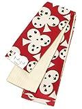 [ 京都きもの町 ] キスミス Xmiss 半幅帯 浴衣帯 赤色トランプ×白色ストライプ