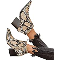 Chellysun Womens Ankle Booties Animal Print Pointed Toe Chunky Stacked Heel Snakeskin Winter Boots